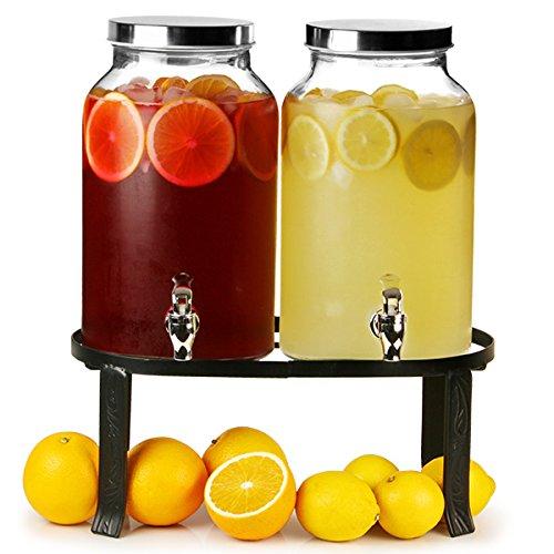 bar@drinkstuff doppelter Getränkespender mit Ständer für 10l, Einmachglas-Design, als Saftdispenser oder Cocktailspender