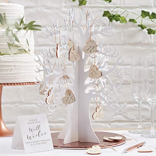 Ginger Ray Wooden Wishing Tree & Hearts Schöne Botanik, weiß