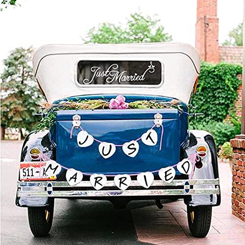 Konsait just Married autoaufkleber Fenster Aufkleber Auto & Foto-Requisit just Married Garland Banne Hochzeits Wimpelkette für Hochzeit Dekoration deko Auto
