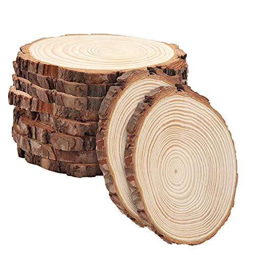 Kurtzy Natürliche Runde Holzscheiben zum Basteln (10er Pack) 14-16cm Durchmesser - Holzscheiben Rund mit Rinde und Ohne Loch - Holzschilder zum Beschriften für DIY Kunst und Weihnachtsschmuck