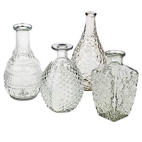 Annastore 12 x Vasen aus Glas Dekovasen Glasvasen Dekogläser Deko Glas Vintage Glasflaschen Größe 12-14 cm/ 12 St. / 6 Modelle