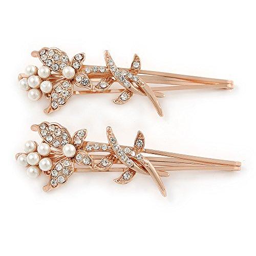 2 Haarspangen für Bräute/ Bälle mit transparentem Kristall, Schmetterling mit weißen Glasperlen und Metall in Roségold