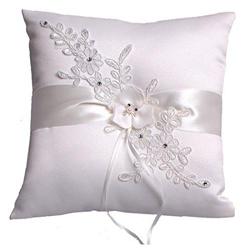 Hochzeit Ringkissen Kissen with Embroider Flower with Faux Pearl 21cm*21cm---Ivory