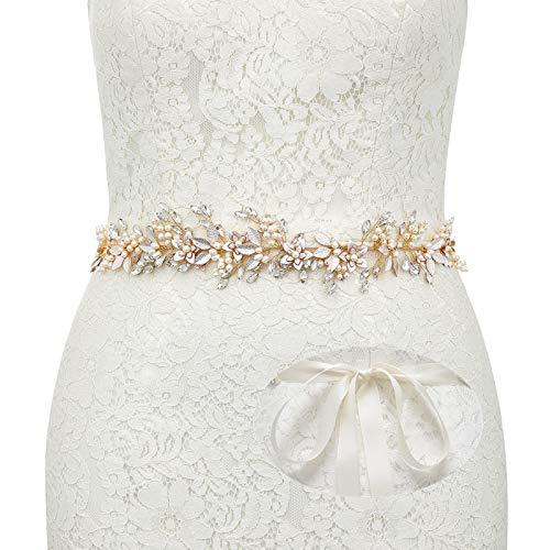 SWEETV Handgemacht Strass Hochzeit Gürtel Kristall Braut Schärpe Brautgürtel für Ballkleid Abendkleider, Gold