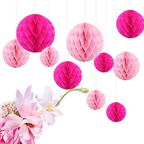 Himeland 10x Seiderpapier Wabenball Set Pompom Honeycomb deko für Party Hochzeit Geburtstag Rosa Pink