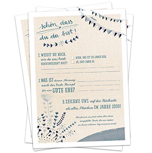 Hochzeitsspiel für Gäste - 52 Postkarten, Schön, dass du da bist, Spiel mit witzigen Fragen & zum Zeichnen, Recyclingpapier Partykarten & Postkartengruß, Creme Beige Blau, Vintage Design