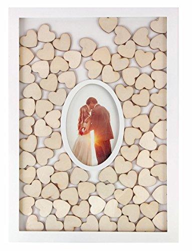 Spetebo Gästebuch mit Fotorahmen und 72 Holz Herzen zum beschriften - Hochzeits Gästebuch Hochzeitsgästebuch