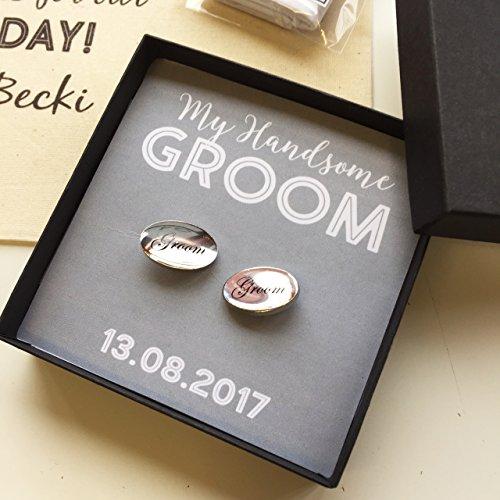 Hochzeit Bräutigam Manschettenknöpfe mit personalisierter Box