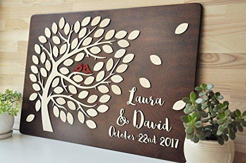 Rustikal 3D Baum Hochzeit Gästebuch Holz Gästebuch für Hochzeit Geschenk Custom Gästebuch Einzigartiges Gästebuch Hochzeit Ideen Decor Hochzeit Geschenke Party Favor für die Braut und Bräutigam