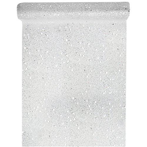 Tischläufer Tüll Glitter 30cm x 5m Silber Tüllstoff Tischdecke Hochzeit Dekostoff Deko