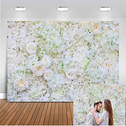 Mehofoto Blumenhintergrund Weiße Rose Brautdusche Neugeborenes Baby Photo Booth Kulissen 7x5ft Vinyl Valentinstag Baby Shower Hochzeit Fotografie Hintergrund