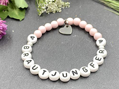 Armband Brautjungfer rosa, Team Braut, JGA, Acryl oder Edelsteine, Willst Du meine Brautjungfer sein?