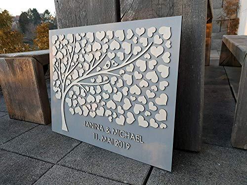 Manschin Laserdesign Personalisiertes 3D Gästebuch aus echtem Holz - Baum - Gästebuch Alternative - 75x60 cm (Grau)