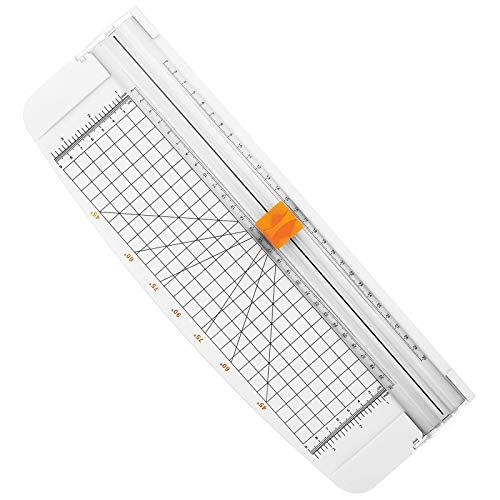 Firbon Papierschneidemaschine A4 12 Zoll Papierschneidemaschine mit automatischer Sicherheitsüberwachung Guillotine und Seitenlineal für Gutschein, Bastelpapier, Etikett und Foto (weiß)