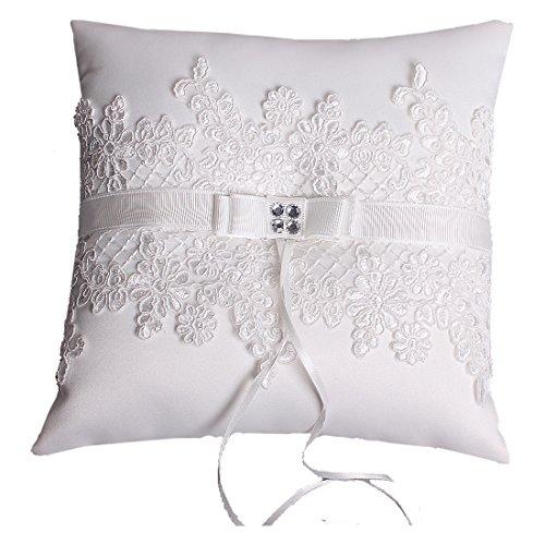 Hochzeit Ringkissen Kissen with Embroider Flower and Mesh 21cm*21cm-Ivory