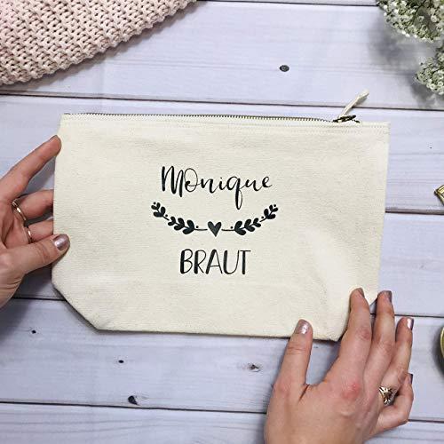Geschenk Braut Trauzeugin Brautjungfer Boho - personalisierter Kosmetikbeutel mit Blätterranke