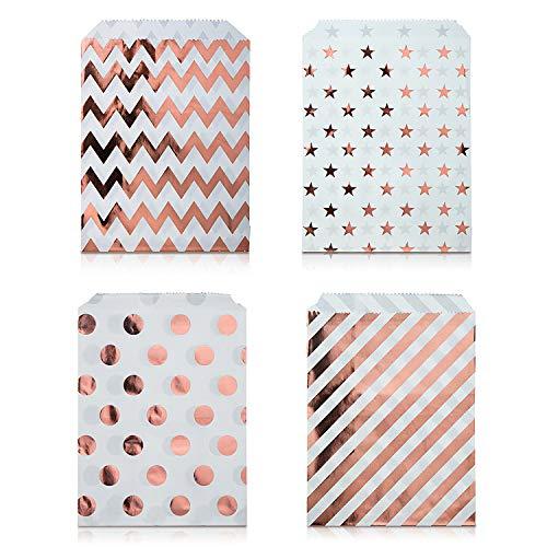 Czemo 100 Stück Papiertüten Candy Bar/Candy Tüten/Geschenktüten/Süssigkeiten Beutel/Bonbon Taschen 4 Verschiedene Designs 18 x 13CM (Roségold)