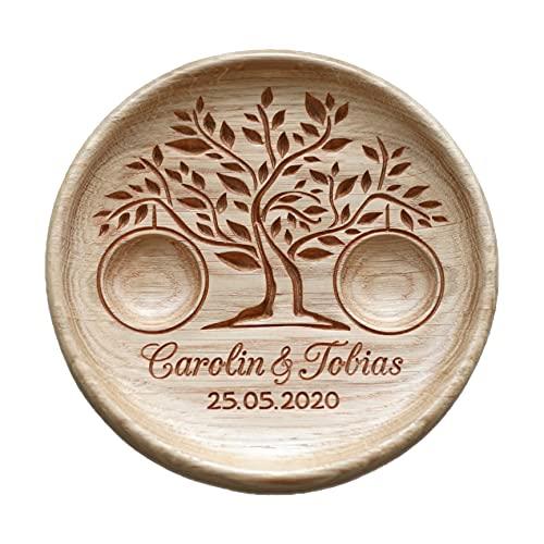 Ringschale aus Holz mit gravierten Namen und Datum, Ringkissen Hochzeit, Ringträger für die Hochzeit, Hochzeitsgeschenk, Baum des Lebens, Tree of Life.