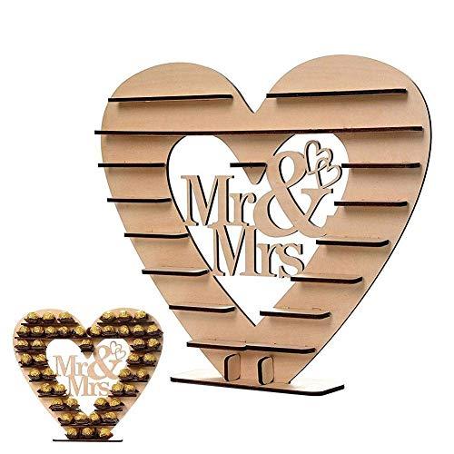 """ACMEDE """"Mr & Mrs"""" Ferrero Rocher Herz Display Ständer Mittelstück Perfekt für Parties, Hochzeiten & Candy Bar, Hölzerner Schokoladen-Ausstellungsstand, Hochzeitsfest Dekoration"""