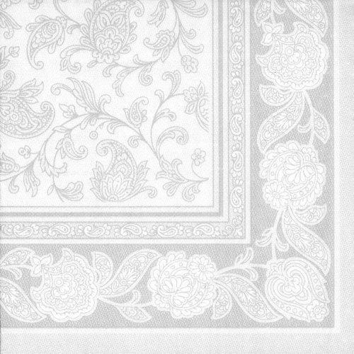 Papstar Servietten / Tissueservietten weiß 'Royal Collection', 'Ornaments' (50 Stück) 40 x 40 cm, 1/4-Falz, für Gastronomie, Feste und Haushalt, Stoffoptik, #11682