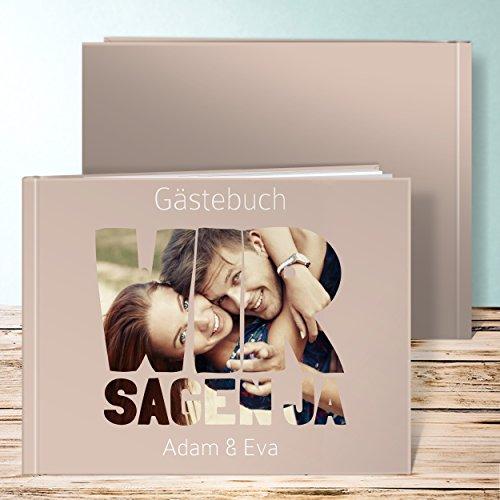 Gästebücher Hochzeit, Liebe durch und durch 72 Seiten, 36 Blatt, Hardcover 290x222 mm personalisierbar, Braun