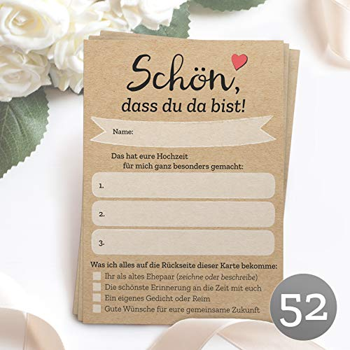 52 Postkarten'Schön, dass du da bist' mit INDIVIDUELLEN Fragen als Hochzeitsspiel für Gäste oder als Alternative zum Hochzeitsgästebuch (DIN A6) - Jede Karte eine andere Frage