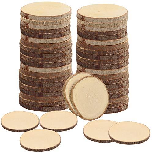 Kurtzy Natürliche Runde Holzscheiben zum Basteln (50er Pack) - 3-5cm Durchmesser - Holzscheiben Rund mit Rinde und Ohne Loch - Holzschilder zum Beschriften für DIY Kunst und Weihnachtsschmuck