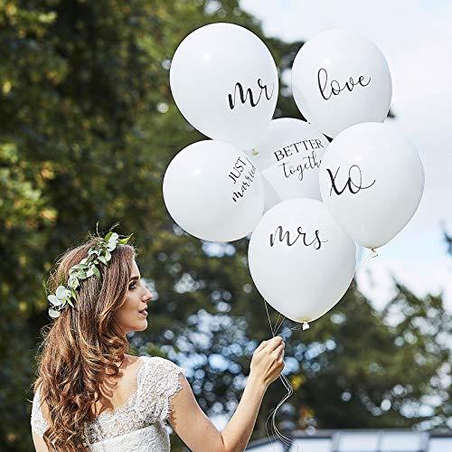 Luftballons Set Hochzeitsballons Statement-Balloons JUST Married weiß Helium-fähig Raumdeko Dekoration Accessoires Zubehör Hochzeit Wedding Mr & Mrs Love Better Together 6 Ballons
