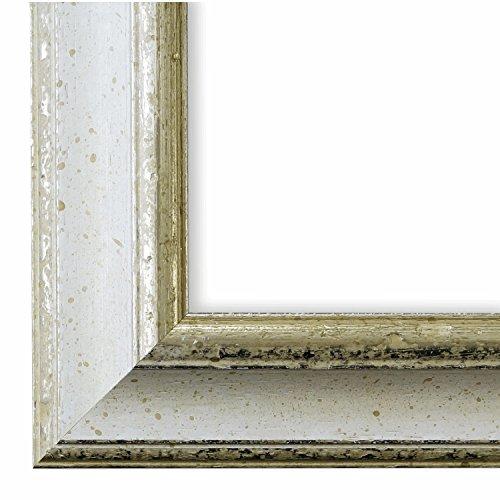 Bilderrahmen Weiß Silber 50 x 70 cm 50x70 - Antik, Barock, Shabby - Alle Größen - handgefertigt - Galerie-Qualität - WRF - Genua 4,3