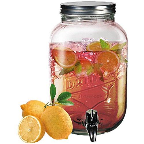 ootb Glas-Getränkespender, Einmachglas, mit Metallschraubverschluss, 3,5 Liter, H: ca. 26 cm, Transparent, 18.6 x 18.6 x 29 cm
