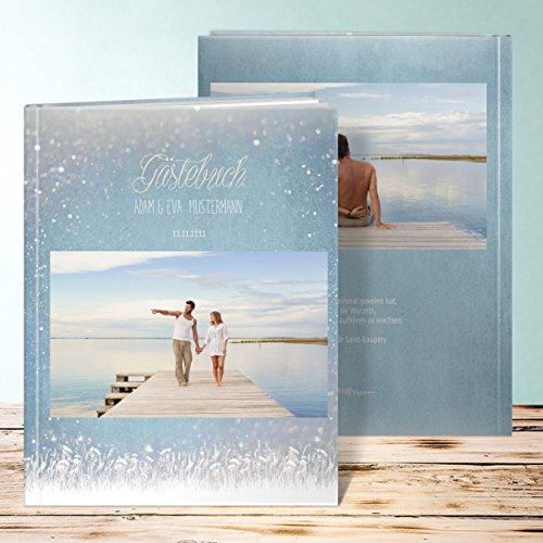 Hochzeitsgästebuch, Zauberlicht 96 Seiten, 48 Blatt, Hardcover 234x296 mm personalisierbar, Blau