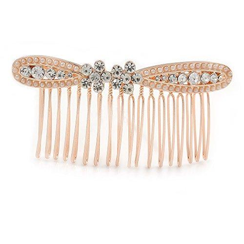 Seitlich zu tragender Haarkamm 'Schleife' in Roségold für Bräute/ Hochzeiten/ Bälle/ Partys mit transparentem österreichischem Kristall