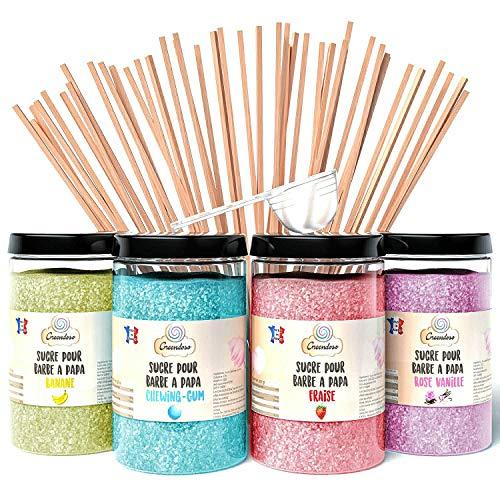 Greendoso-Zuckerwatte Zucker für Zuckerwattemaschine (4 x 350 Gr) = 1,4 Kg (Erdbeere-Kaugummi-Banane-Vanille) Aromazucker + 50 Stäbchen (30 cm) + 1 Messlöffel