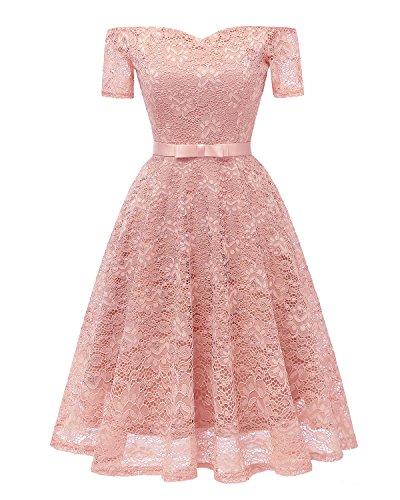 Promgirl House Damen Fashion Kurz Mini Off Shoulder Kurze Aermel Spitze Satin Gruetel Abendkleid Spitzenkleid Abschlusskleid Kurz-40 Rosa
