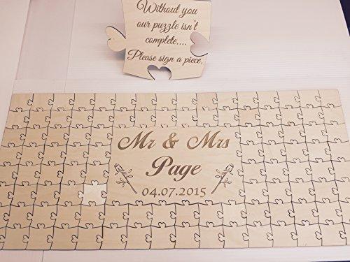 FSSS Ltd personalisierbar Holz Hochzeit Gästebuch Puzzle zum Hochzeitstag zum Geburtstag, Holz, 56 Pieces 400x300mm (16