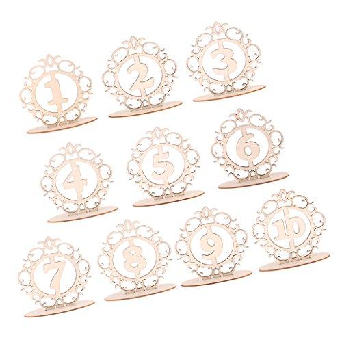 Sharplace Vintage Holz 16cm Tischnummern 1-10/11-20 Basis-Set Hochzeit Geburtstagsparty - 1-10, 16 x 16 x 0,3 cm