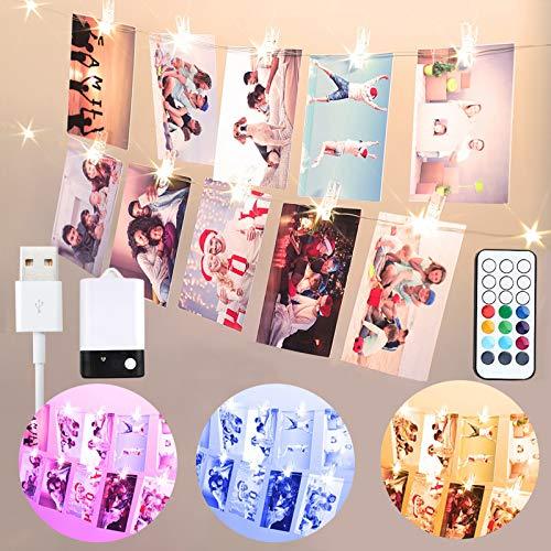 Bunt Foto Clips Lichterkette für Zimmer, USB & Batterie 2M 20 LED Lichterkette mit 20 Klammern für Fotos mit Fernbedienung, 10 Farben Lichterkette Bilderrahmen für Wohnung, Haus, Mutter Geschenke