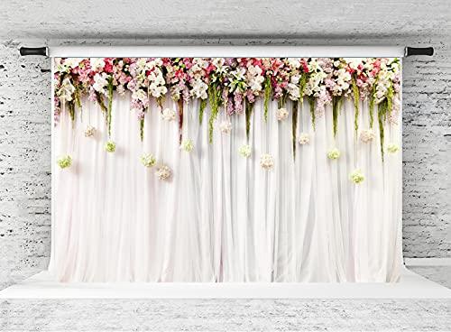KateHome PHOTOSTUDIOS Hochzeit Hintergrund Rosa Fotoleinwand Weiss Fotografie Wedding Hintergründe Hochzeit Vintage Fotohintergrund Textur für Fotostudio,2,2x1,5m