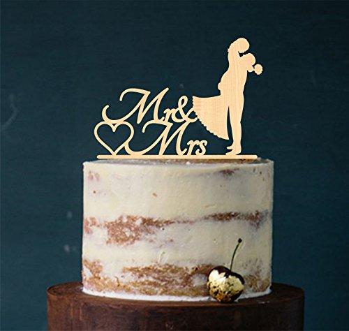 Cake Topper, Kuss, Tortenstecker, Tortefigur Hochzeit Hochzeitstorte Kuchenaufstecker (Holz Natur) Art.Nr. 5017