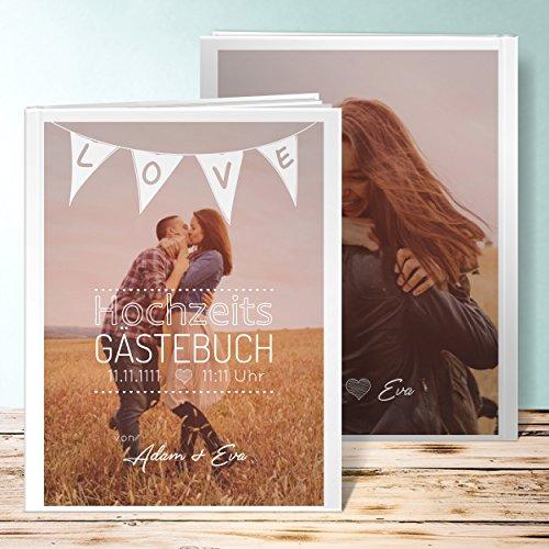 Gästebuch Hochzeit kaufen, Liebeswimpel 96 Seiten, 48 Blatt, Hardcover 234x296 mm personalisierbar, Weiß