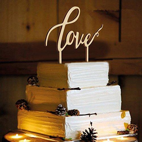 ROSENICE Love Hochzeitstorte Topper für Hochzeitsdekorationen (Holz Farbe)