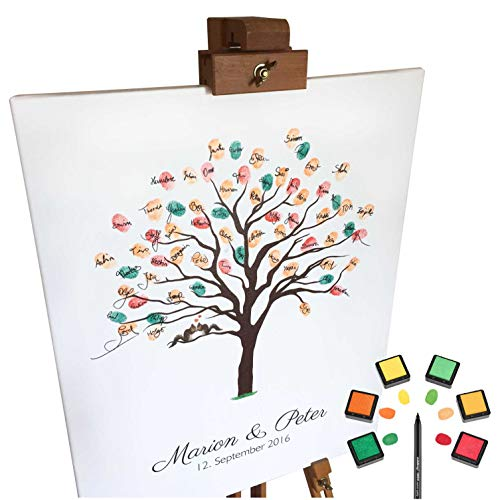 KATINGA Personalisierte Leinwand zur Hochzeit -Motiv HERBSTBAUM - als Gästebuch für Fingerabdrücke (mit Name 40x50)