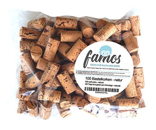 famos 100 Korken/Weinkorken/Flaschenkorken zum Basteln - Natur - neu - 24mm x 45mm