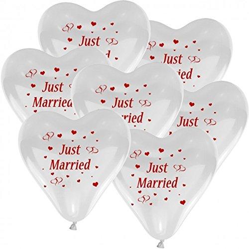 galleryy.net 10 Herzballons Hochzeit WEIß mit Aufdruck Just Married - Luftballons zur Hochzeit - Helium geeignete Ballons zum Luftballon steigen Lassen + Gratis Geschenkkarte
