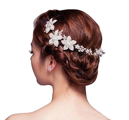 BININBOX® Fünf Blättern Blumen Haarschmuck Stirnband mit Kristall Brauthochzeits