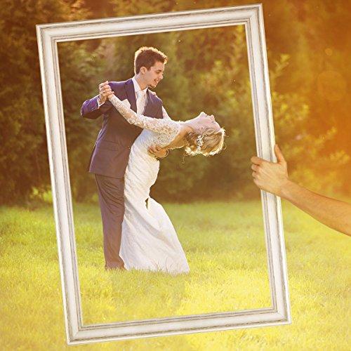 Hochzeit-Bilderrahmen für beeindruckende Hochzeitsfotos Hochzeitsspiele oder als Hochzeits-Rahmen und Photo-Booth Zubehör 50x70 cm Farbe Weiß