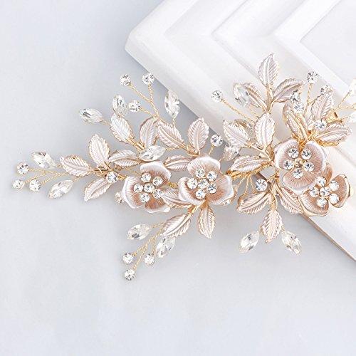 SWEETV Light Rose Gold Hochzeit Haarspange Strass Braut Kamm Haarspange - Handmade Flower Clip Kopfschmuck für Frauen