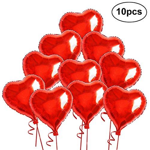 VORCOOL Rotes Herz Luftballons Dekoration Luftballons Hochzeit 10 Stücke