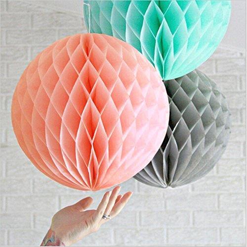SUNBEAUTY 3er Set 20cm Mint Apricot Grau Wabenbälle Honeycomb Balls Dekoration (20cm)