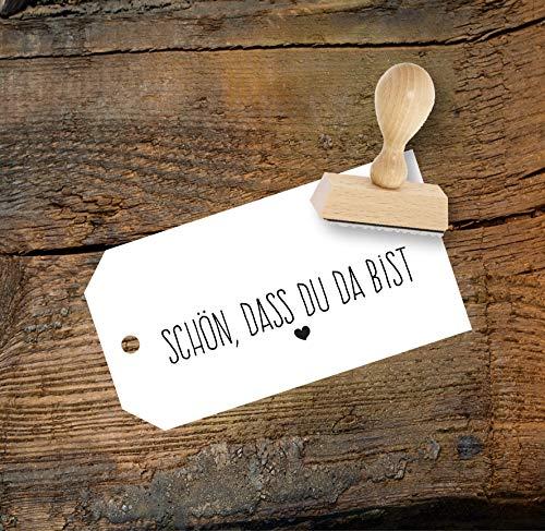 Schön dass du da bist Stempel aus Buchenholz, Vintage Hochzeit, Qualitätsprodukt aus Österreich, perfekt für DIY Wedding